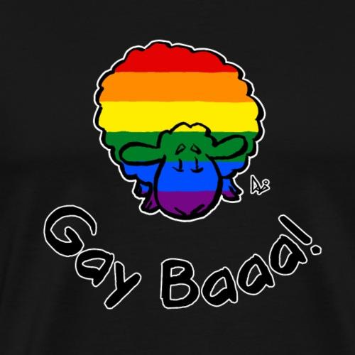 Gay Baaa! Rainbow Pride Sheep (black edition) - Men's Premium T-Shirt