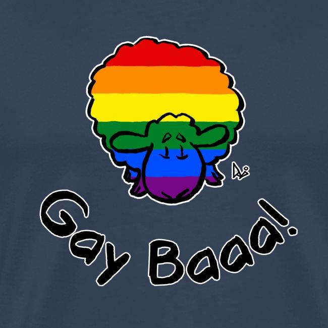 Gay Baaa! Rainbow Pride Sheep (black edition)