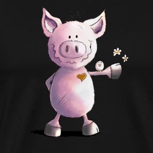 Glück Schwein Mit Herz und Vögeln - Männer Premium T-Shirt