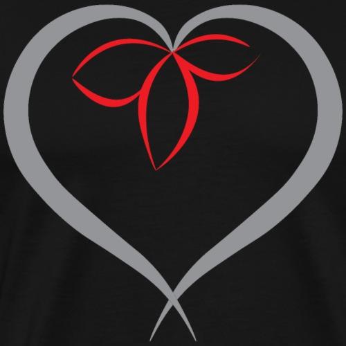 Flower in a heart - Grey - Men's Premium T-Shirt