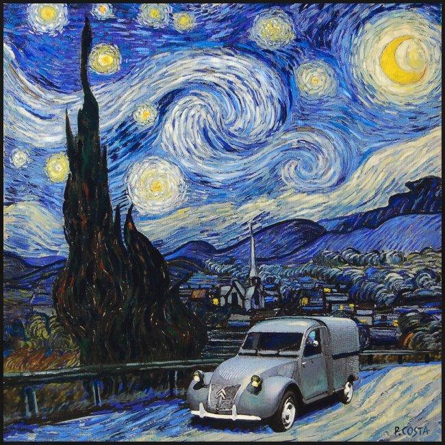 Notte stellata Van Gogh Citroen 2cv furgonette