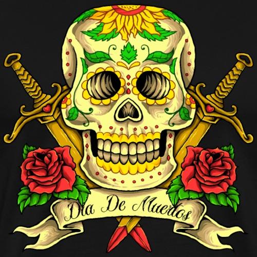 Crâne du Jour des morts - T-shirt Premium Homme