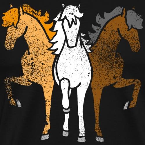 Lustige Geschenkidee Pferde Troika Farben Grunge - Männer Premium T-Shirt