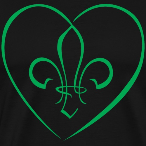 Fleur de Lys in a heart - Green - Men's Premium T-Shirt