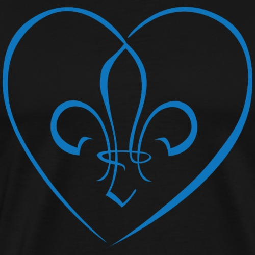Fleur de Lys in a heart - Blue - Men's Premium T-Shirt