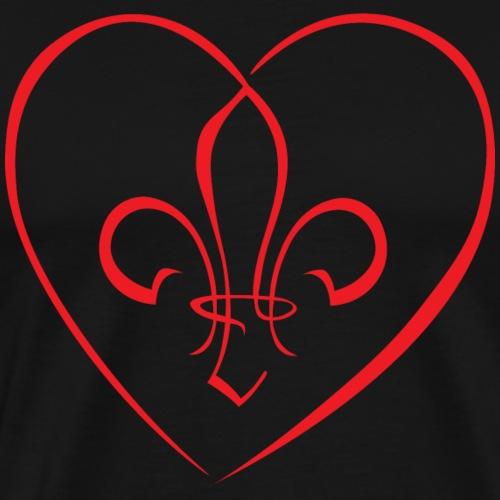 Fleur de Lys in a heart - Red - Men's Premium T-Shirt