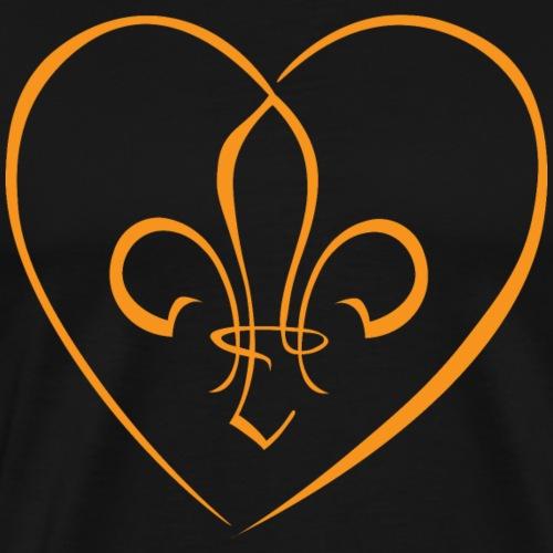 Fleur de Lys in a heart - Caramel - Men's Premium T-Shirt