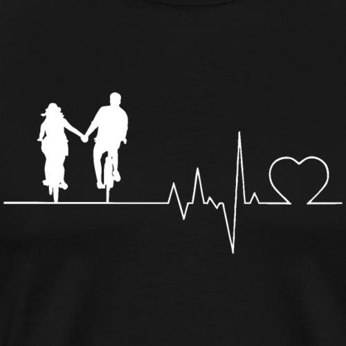 Herzschlag Heartbeat Liebespaar Fahrrad Paar - Männer Premium T-Shirt