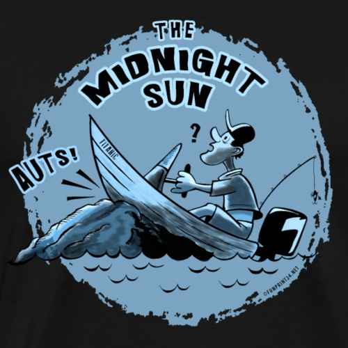 MIDNIGHT SUN, FUNNY FISHING TEXTILES, GIFTS - Miesten premium t-paita