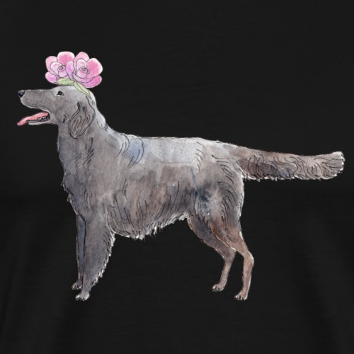 Flatcoated retriever with flower - Herre premium T-shirt