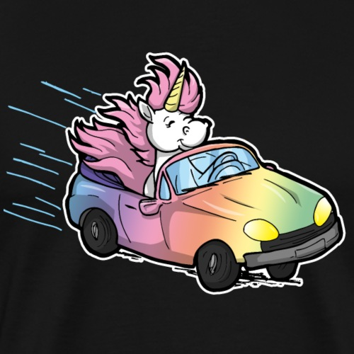 Licence drôle de pilote de voiture cadeau Licorne Bande dessinée - T-shirt Premium Homme