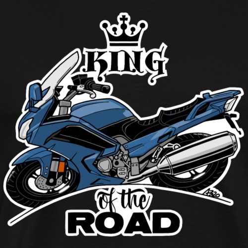 0885 FJR KING of the ROAD (blauw) - Mannen Premium T-shirt