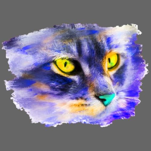Katze Pop-Art Blau Gelb - Männer Premium T-Shirt