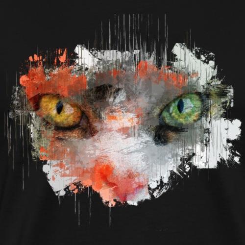 Katze Augen orange grün - Männer Premium T-Shirt