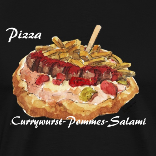Pizza Currywurst-Pommes-Salami - Männer Premium T-Shirt