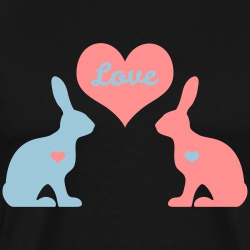 love Hasen Kaninchen Häschen Herzen Liebe bunny - Männer Premium T-Shirt