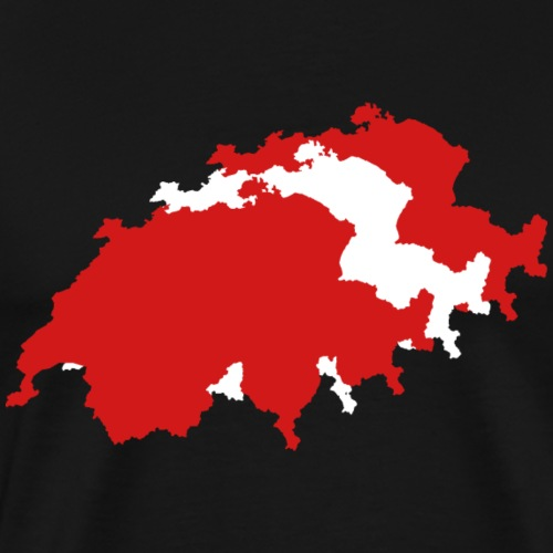 Swiss Map - Black Line - Männer Premium T-Shirt