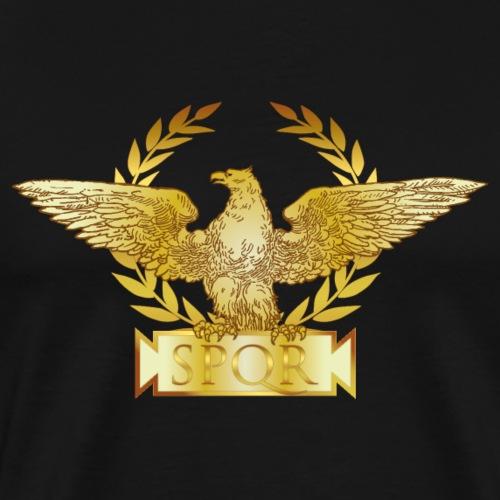 ROMA aquila di Roma (avanti e indietro), SPQR, oro - Maglietta Premium da uomo