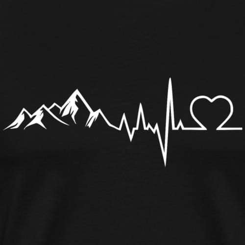 Herzschlag Bergsteiger Wanderer Skifahrer Geschenk - Männer Premium T-Shirt