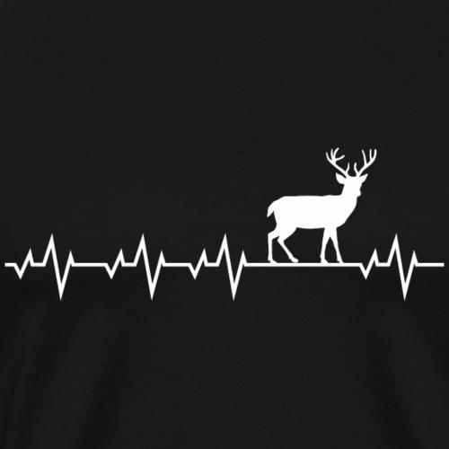 Herzschlag EKG Hirsch Elch Reh Rentier Shirt Gesch - Männer Premium T-Shirt