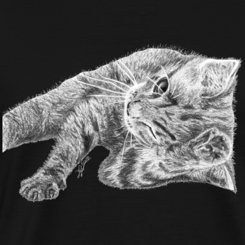 Small kitten in gray pencil - Men's Premium T-Shirt