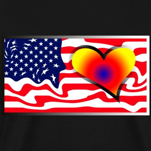 US flag with colored heart - Maglietta Premium da uomo