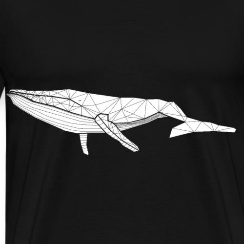 Geometric Whale White - Men's Premium T-Shirt
