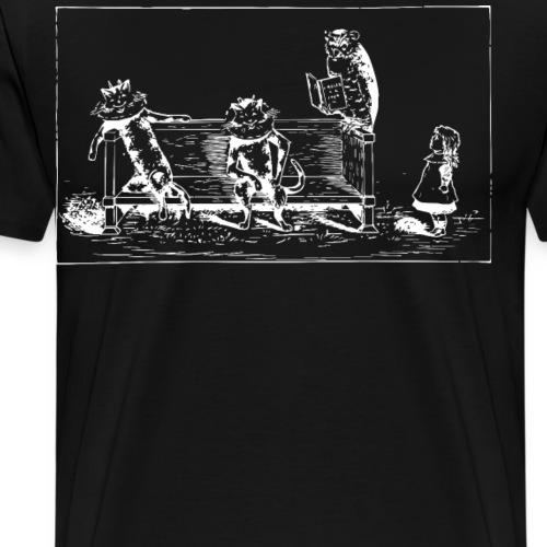 Cats, Owl, and Girl Vintage - Men's Premium T-Shirt