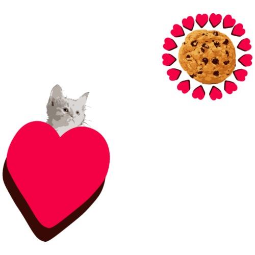 Cookies and cat Cat head Cat love love heart - Men's Premium T-Shirt