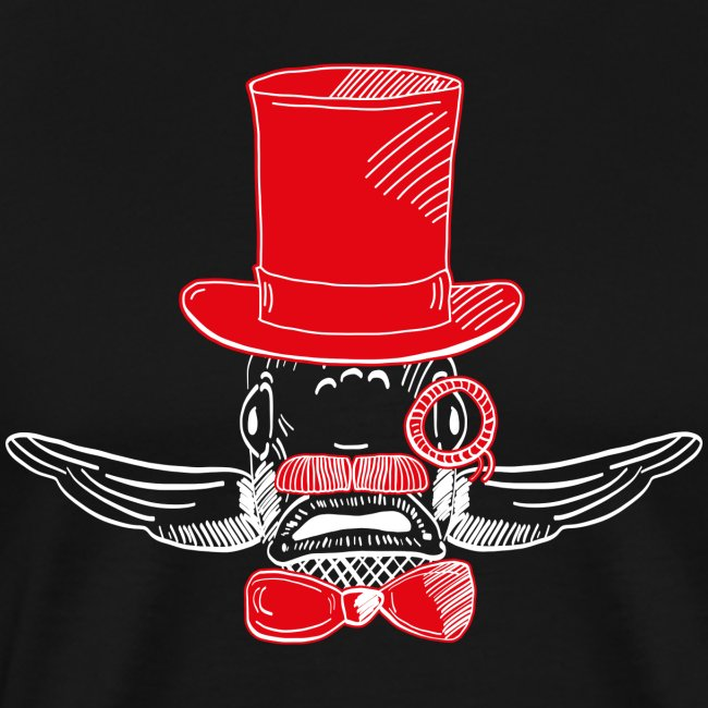 Elegant Hipster Fish - Mustache - Red