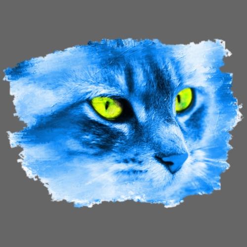 Katze Modern Art Blau Gelb - Männer Premium T-Shirt