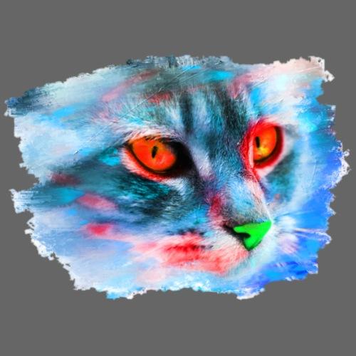 Katze Pop-Art Blau Rot - Männer Premium T-Shirt