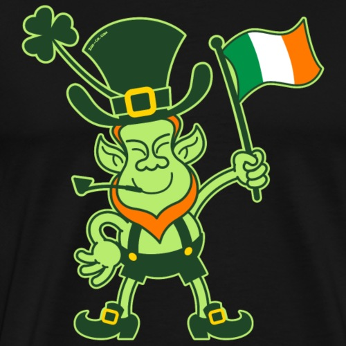 Proud Leprechaun Waving an Irish Flag - Men's Premium T-Shirt