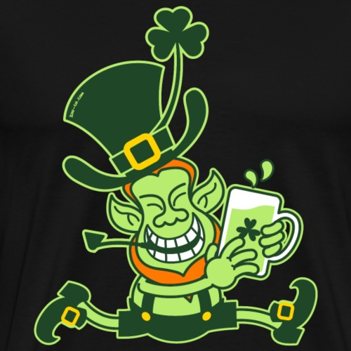 Green Leprechaun Running with Beer - Men's Premium T-Shirt