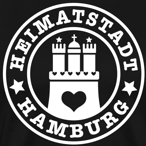 Hamburg Heimatstadt Wappen 1c Herz - Männer Premium T-Shirt