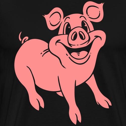 Schwein lächelt freundlich neg - Männer Premium T-Shirt