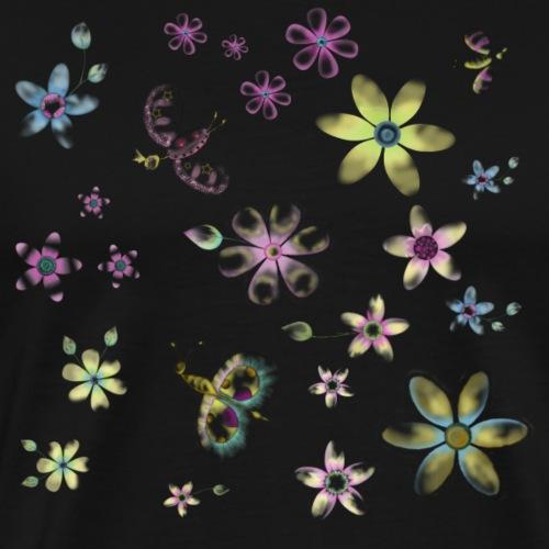 flowers and butterflies - Maglietta Premium da uomo
