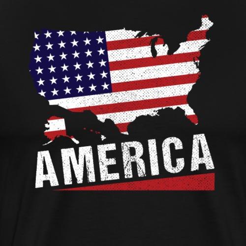 4th of July America Map Stars And Stripes - Männer Premium T-Shirt