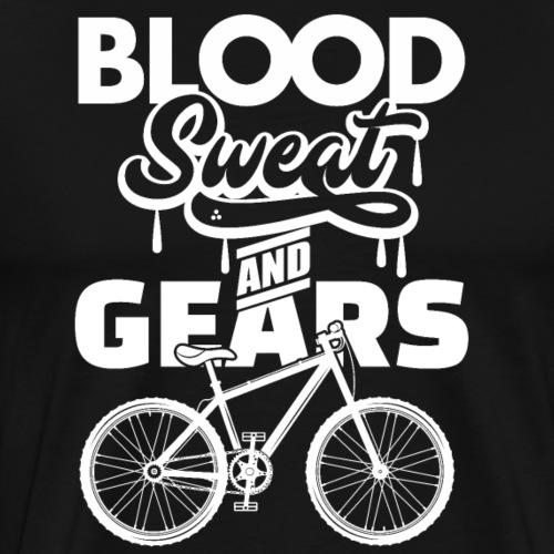 Mountain Biking Funny - Blood Sweat And Gears - Men's Premium T-Shirt