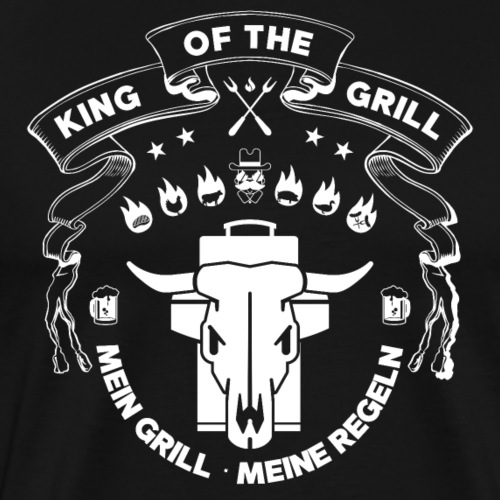 GRILL BADGE KING OF THE GRILL v44W - Männer Premium T-Shirt