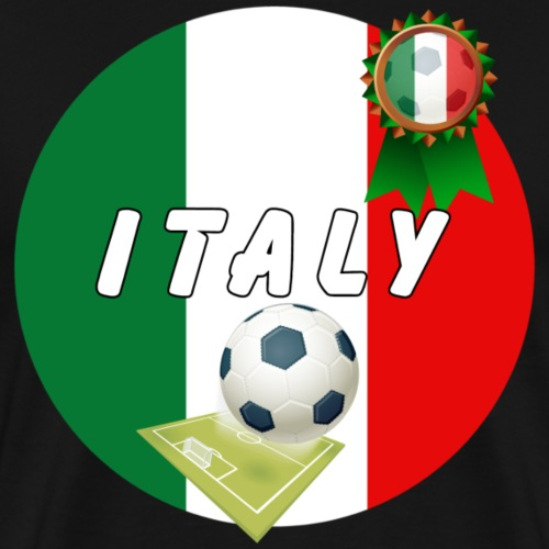 Italy Football Team pitch ball & Rosette - Men's Premium T-Shirt