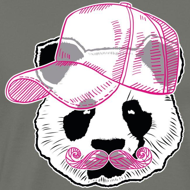 Panda - Pink - Cap - Mustache