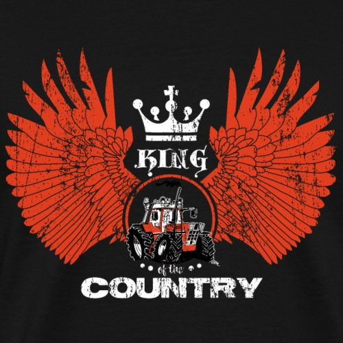 WINGS King of the country wit rood op zwart - Mannen Premium T-shirt