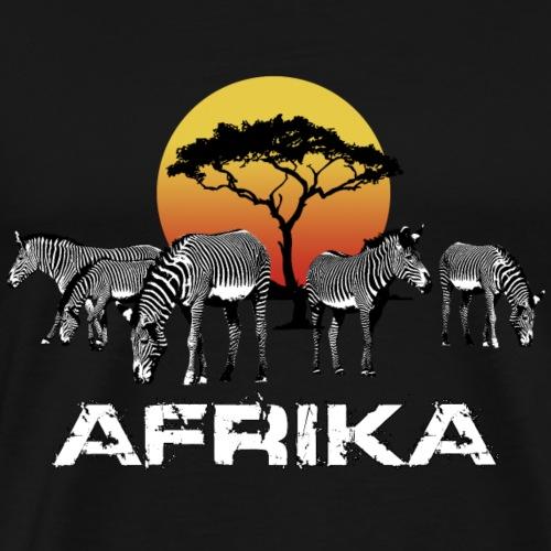 Zebra Afrika Sonnenuntergang Wildlife Safari Kenia - Men's Premium T-Shirt