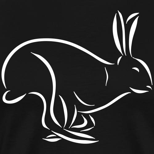 laufender Hase Feldhase Langohr Löffel Zeichnung - Männer Premium T-Shirt