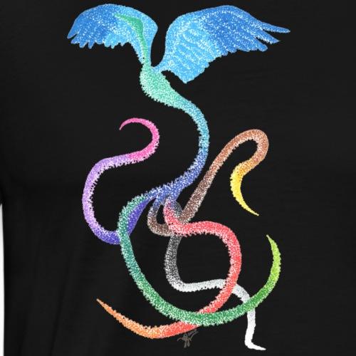 Graceful - Rainbow Bird in Ink - Men's Premium T-Shirt