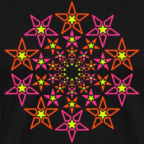 fraktal stjerne 3 farve neon - Herre premium T-shirt