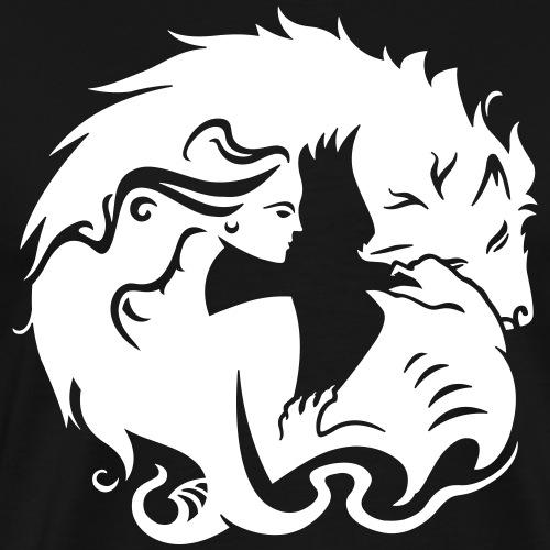 Femme avec dragon et loup - T-shirt Premium Homme