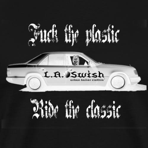 fuck the plastic ride the classic white logo - Männer Premium T-Shirt