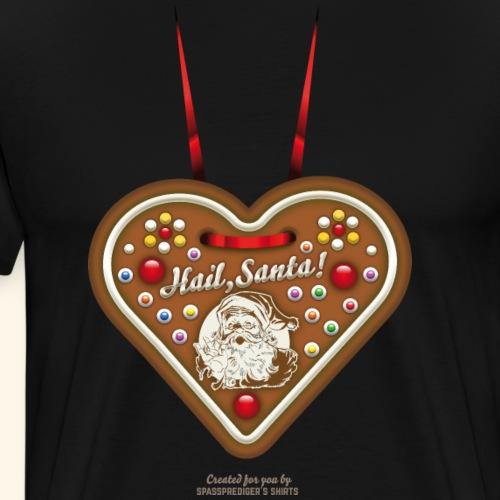 Ugly Christmas Design Lebkuchenherz Hail Santa - Männer Premium T-Shirt